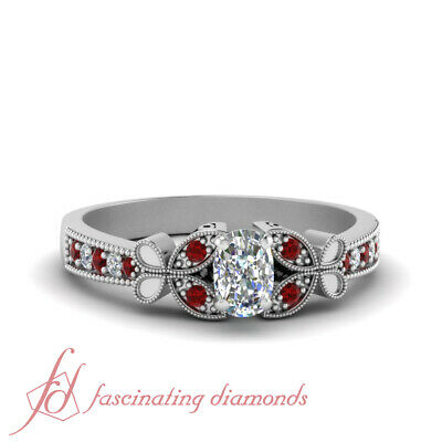 Cushion Cut Diamond And Ruby Gemstone Nature Inspired Engagement Ring 0.65 Ctw