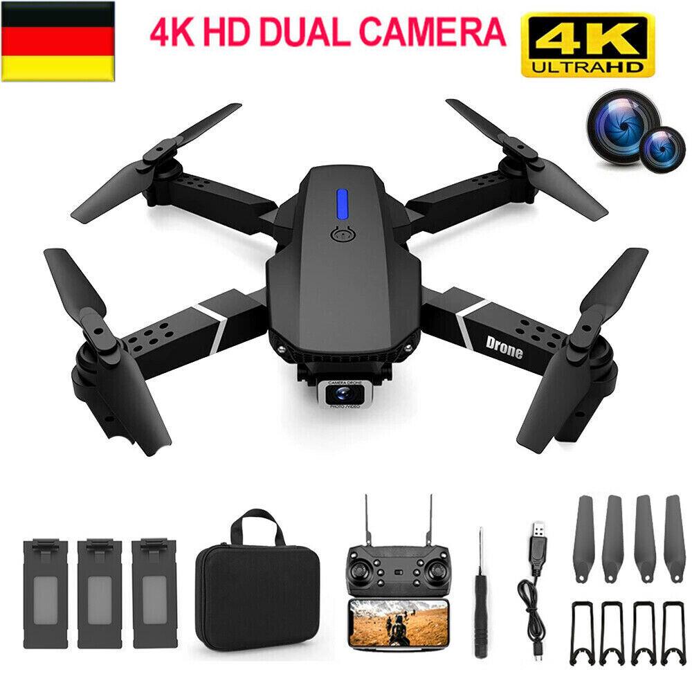 Faltbar WIFI FPV Drohne mit 4K HD Kamera Selfie Quadrocopter RC Drone + 3 Akkus