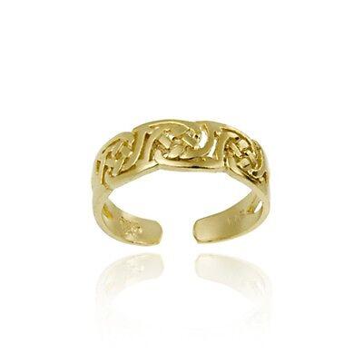 18K Gold Over 925 Silver Irish Celtic Knot Toe Ring
