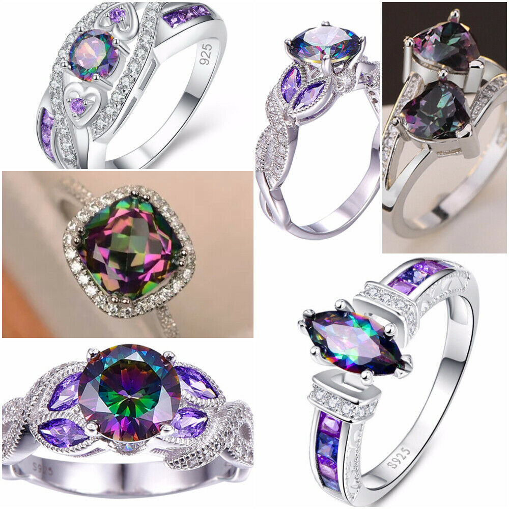 Jewellery - Fashion 925 Silver Jewelry Mystic Topaz Women Wedding Engagement Ring Size 6-10
