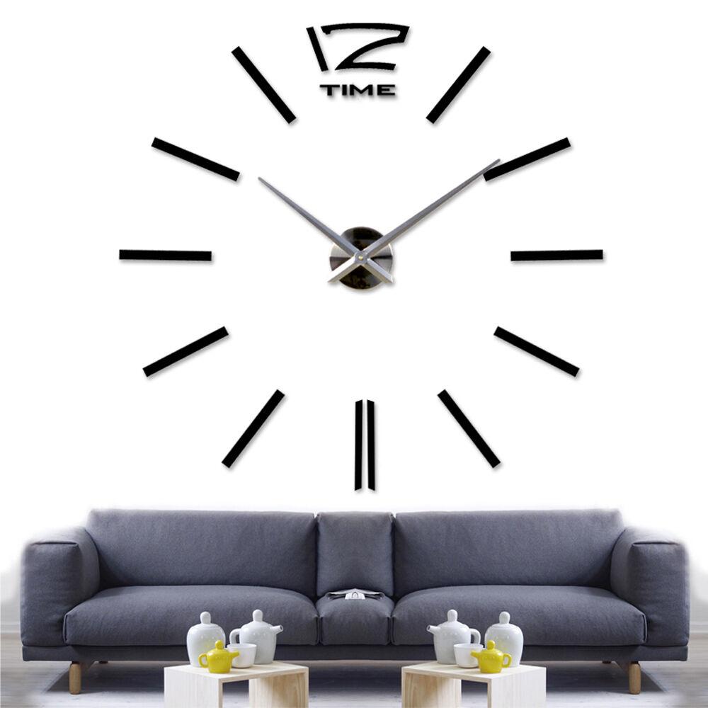 Géant adhésif vinyle inoxydable big black horloge murale sticker décoration