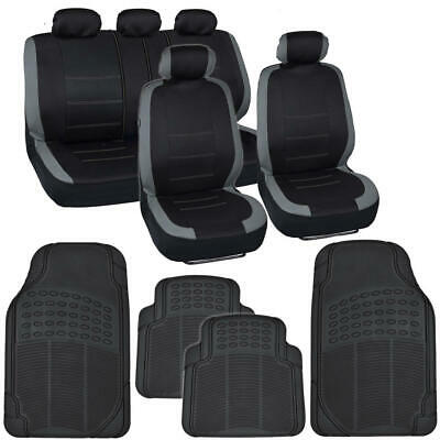 Full Car Seat Covers & Rubber Floor Mats Set Gray/Black Universal Auto Truck SUV Oldsmobile Bravada 96 97 Car