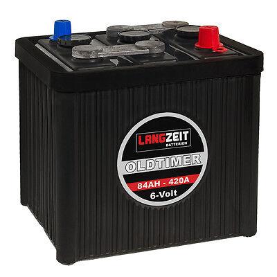 LANGZEIT Oldtimer Autobatterie Batterie 6V 84Ah hohe Startkraft 420A/EN 6-Volt 420a Batterie