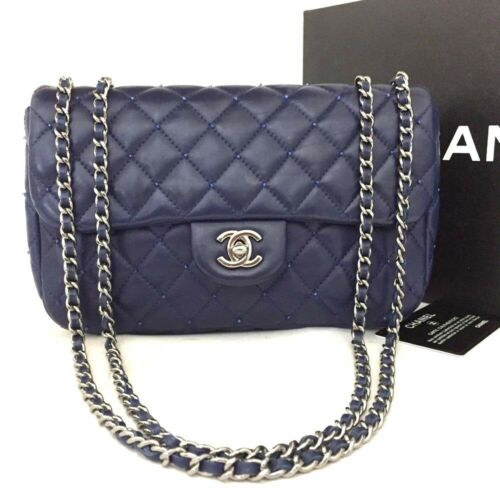CHANEL Quilted Beads Silver Hardware CC Logo Lambskin Chain Shoulder Bag/738