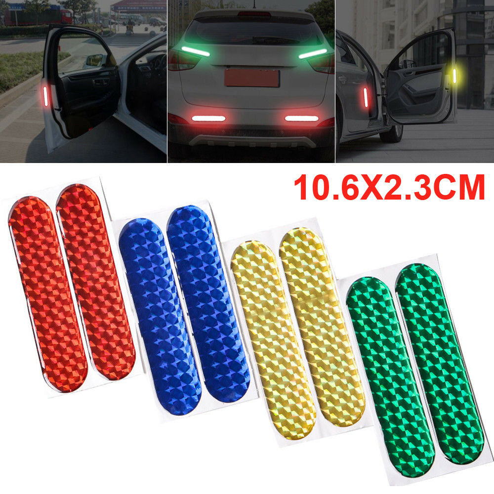 1 Pair Auto Car Reflective Stickers Durable Red Safety Mark Strips Warning Tape