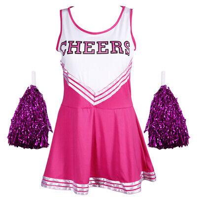 Rosa Pink Sexy Damen Cheerleading Uniform Kostüm Kleid - Rosa Cheerleader Kostüme