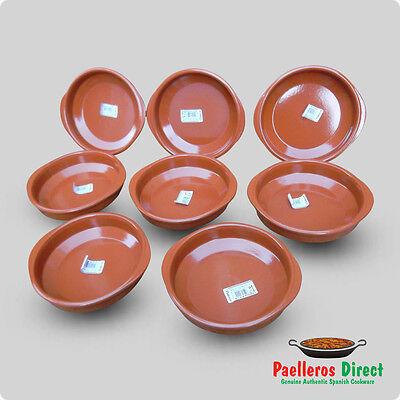 Set of 8 x 18cm Spanish Terracotta Tapas Dishes / Cazuelas