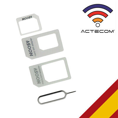 KIT ADAPTADOR TARJETA NANOSIM MICROSIM SIM PARA IPHONE 4GS-4S-5-5G