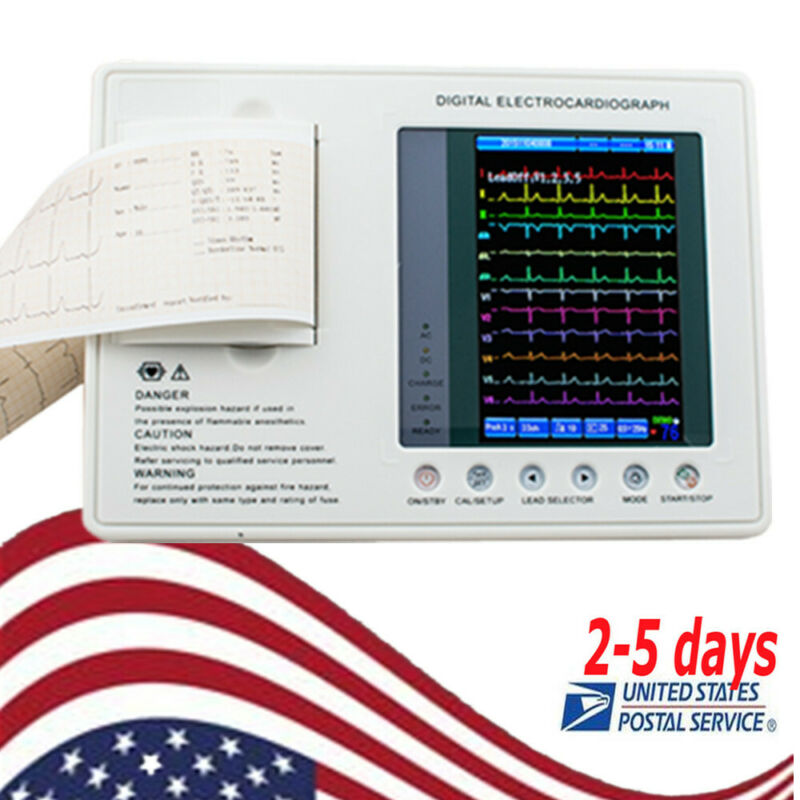 "7"" Digital 12-lead Electrocardiograph ECG EKG Machine 3-Channel Monitor+papers"