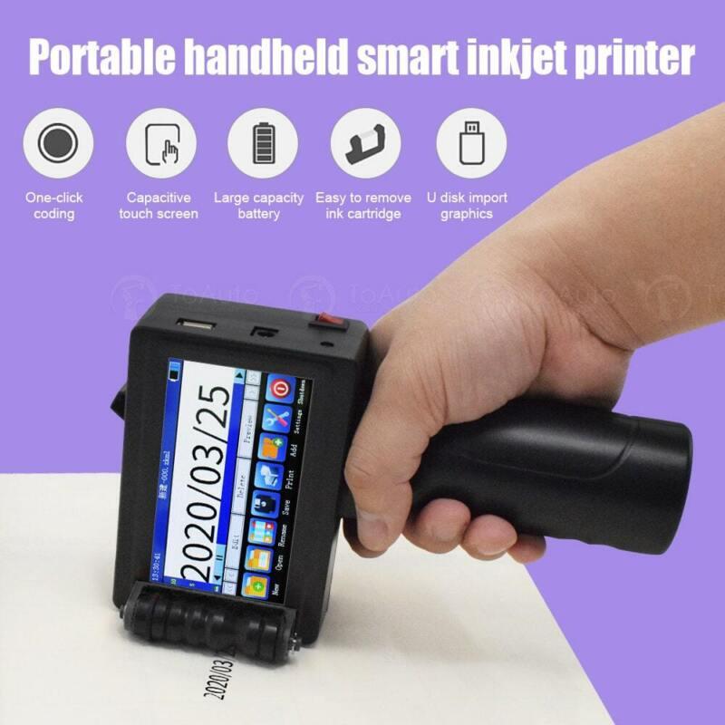 Handheld Inkjet Printer 600DPI Ink Date Word QR Code Barcode Logo Label Machine