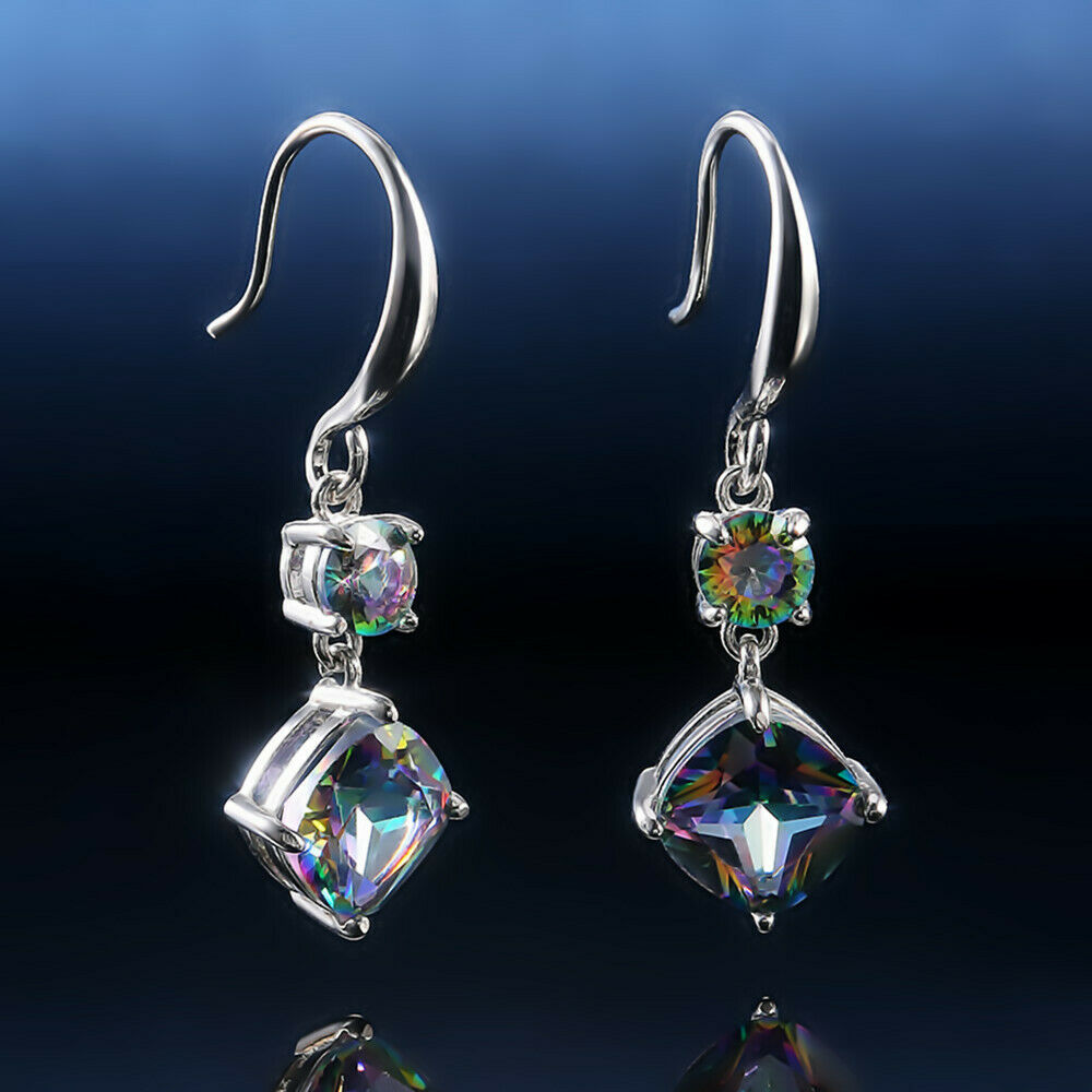 Women Jewelry Mystic Topaz Drop Earrings 925 Silver Earring for Women A Pair/set 4