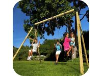 Plum Colobus Double Swing with Glider Wooden Garden Swing Set BRAND NEW BOXED RRP£299.99
