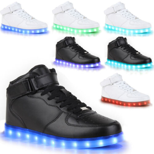 unisex led schuhe herren damen leuchtend sneaker blinkschuhe farbwechsel schwarz ebay. Black Bedroom Furniture Sets. Home Design Ideas