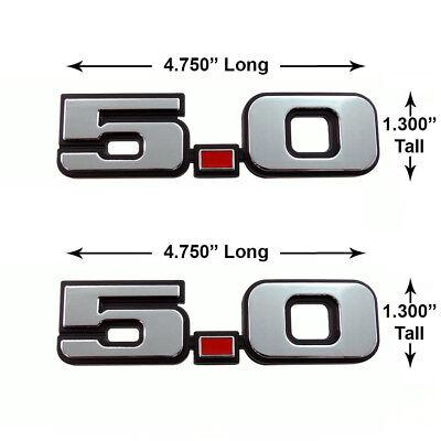 - (2) 79-93 Mustang GT LX 5.0 Chrome Door Fender Side Emblem w/ Red Dot