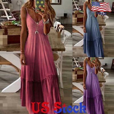Women V-neck Sleeveless Dress A-Line Loose Gradient Halter Summer Sundress US