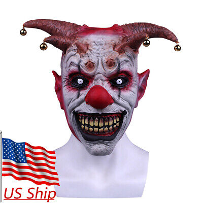 Creepy Evil Scary Bell Clown Halloween Mask Latex Evil Jester Clown Party Mask - Latex Clown