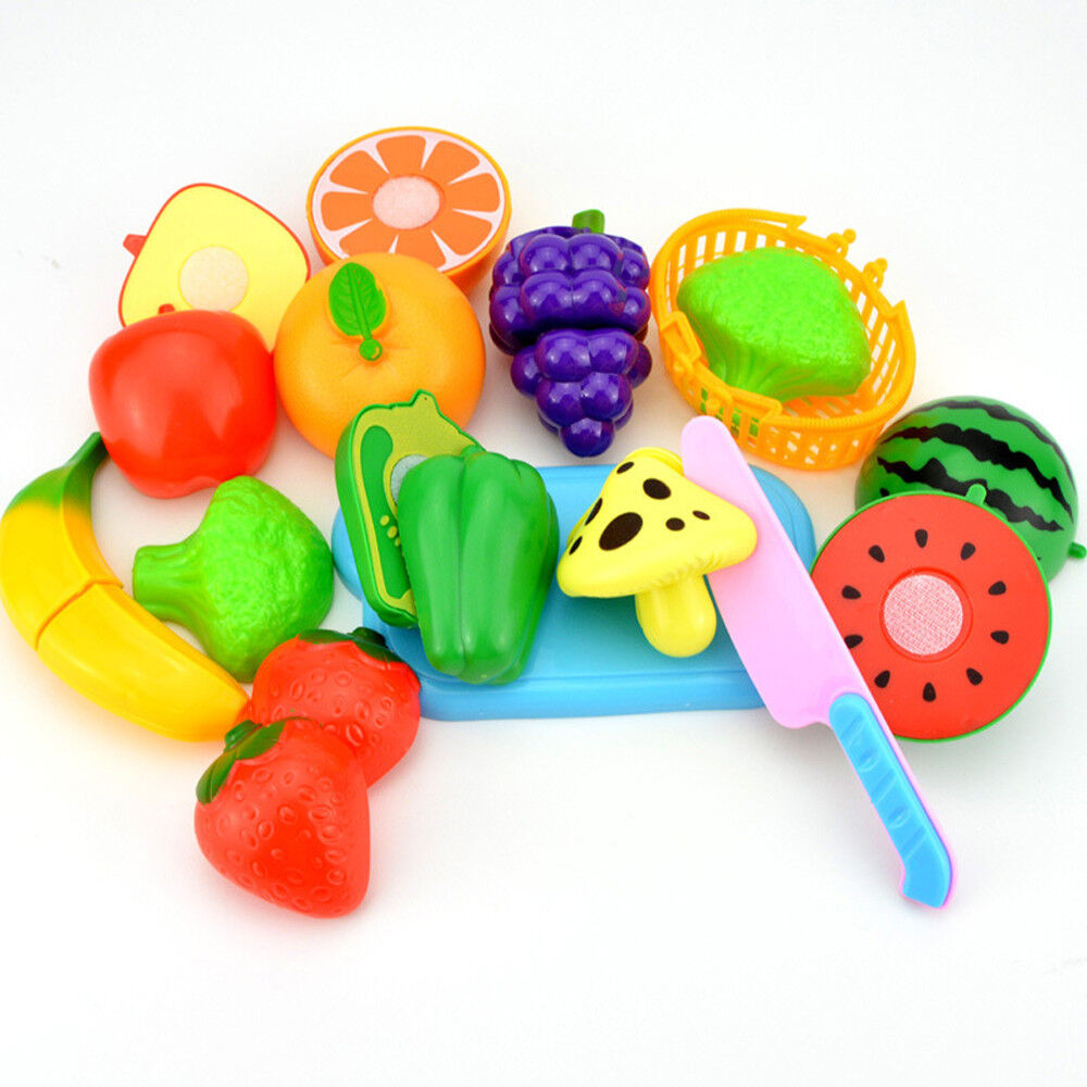 2017 Kids Pretend Role Play Kitchen Fruit Vegetable Food Toy Cutting  Gift Set