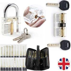24X Practice Lock Locksmith Opener Training Tool Set Kit Key Pick Transparent