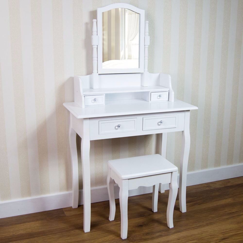 white dressing table 4 drawers mirror stool bedroom dresser classy princess table in. Black Bedroom Furniture Sets. Home Design Ideas