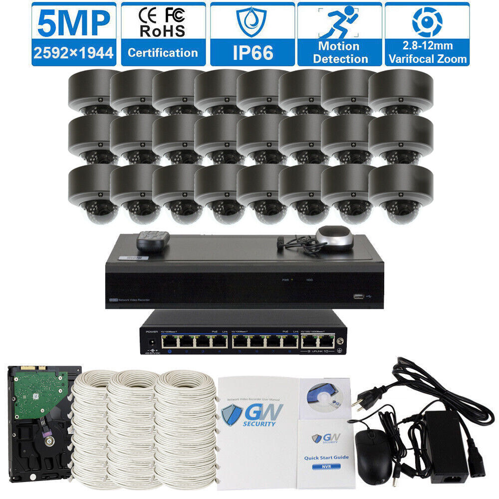 32 Channel 4K NVR 24 x 5MP 2.8-12mm Varifocal Zoom IP PoE Ca