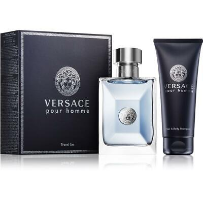 Versace Pour Homme Eau de Toilette 100ml Spray + 100ml b/wash Set New