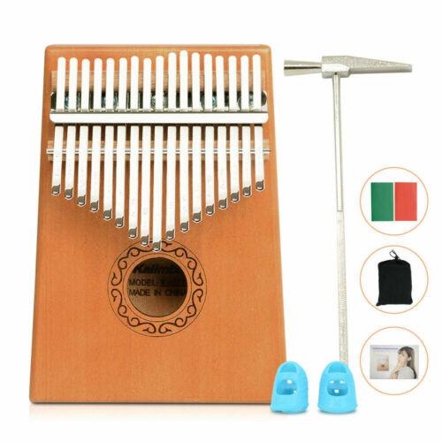 Thumb Piano 17 Keys Portable Finger Piano Mahogany Keyboard Music Instrument Kit