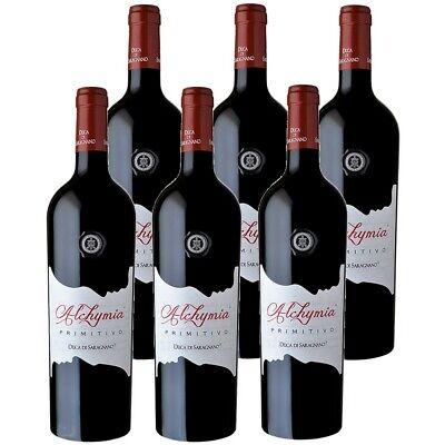 6 x 75cl Duca Di Saragnano Alchymia Primitivo 14,5% vol Rotwein Italien