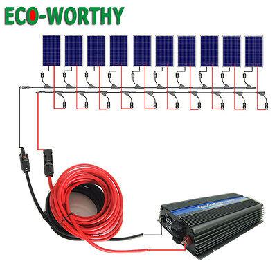 Eco 1Kw Grid Tie Solar Panel Kit 10X100w Solar Panel   1000W Inverter Home Power