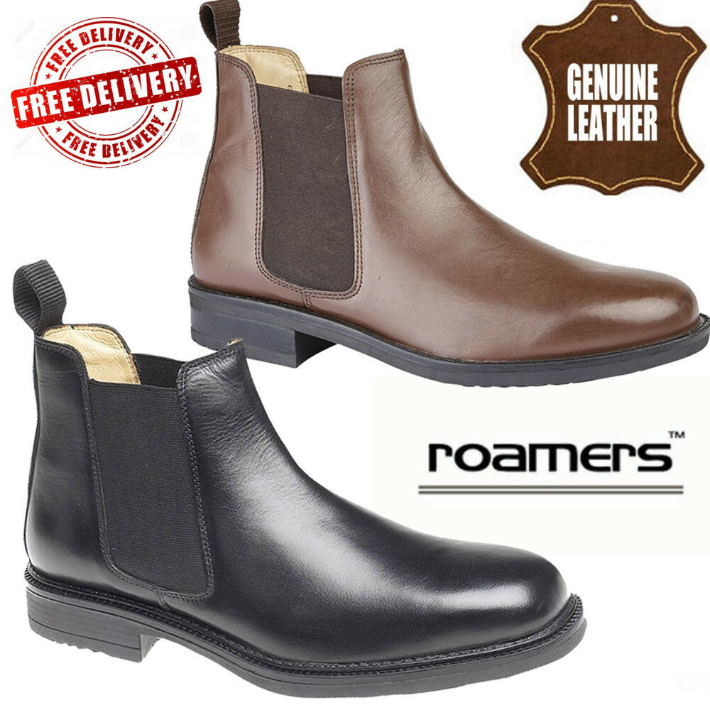 Details about Roamers Mens Twin Gusset Padded Gents Leather Shoes Chelsea Dealer Boots