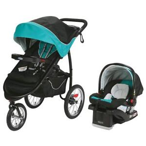 NEW Graco FastAction Fold Jogger Click Connect Travel System, stroller Tropical Condition: New