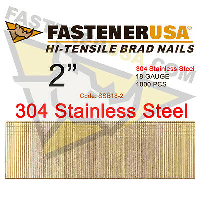 2 18 Gauge Straight Brad Finish Nails Stainless Steel 18 Ga 1000 Ct