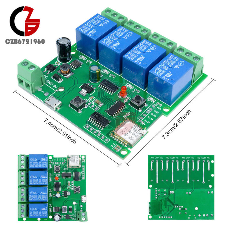4 Channel DC 5V 7V-32V WiFi Wireless Relay Delay Switch Control Module With APP