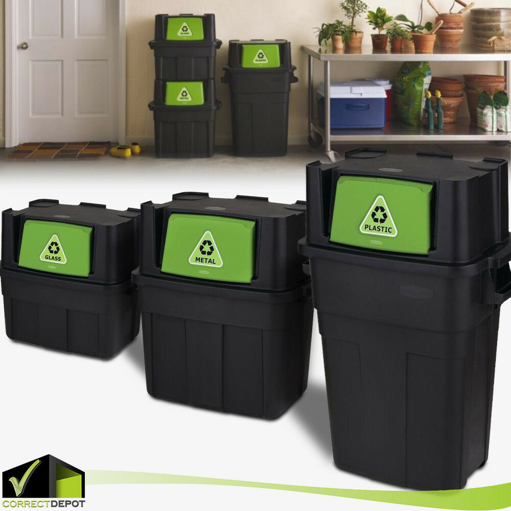 Stackable Indoor Recycling Garbage Bin Waste Trash Can PLASTIC GLASS METAL