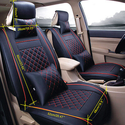 Full Set Car Seat Cover Waterproof PU Leather 5-Seats Cushion W/Pillow Black&Red