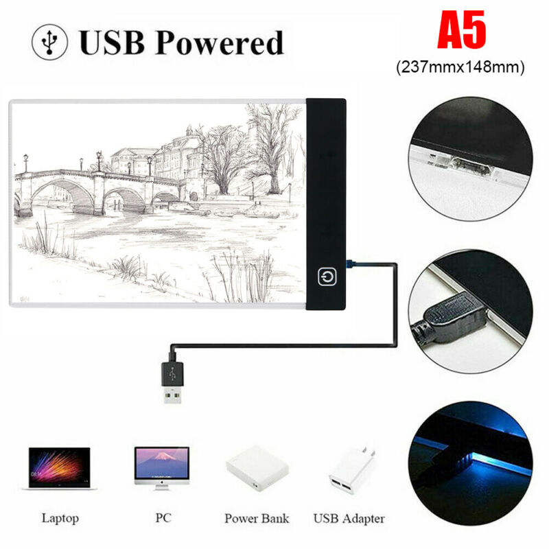 A5 Drawing Tablet LED Tracing Light Box Stencil Board Art Painting Pad Artcraft