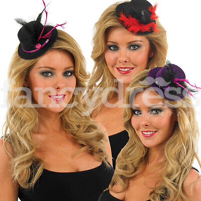 Adult Womens Mini Glitter Top Hat Feather Fancy Dress Burlesque Hen Night LOT