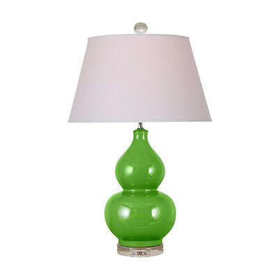 Beautiful Green Porcelain Gourd Vase Clear Base Table Lamp 27.5