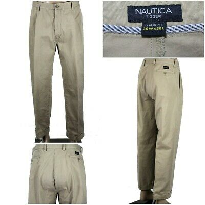 "NAUTICA ""Rigger"" Men's 36 x 30(29) Khaki Pleated & Cuffed Classic Fit Pants GUC"
