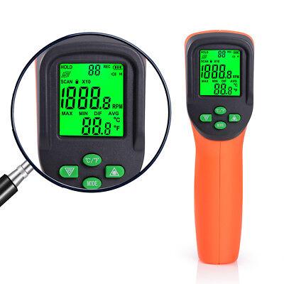 Laser Digital Tachometer Photoelectric Temperature Rpm Tach Speed Measure Guage