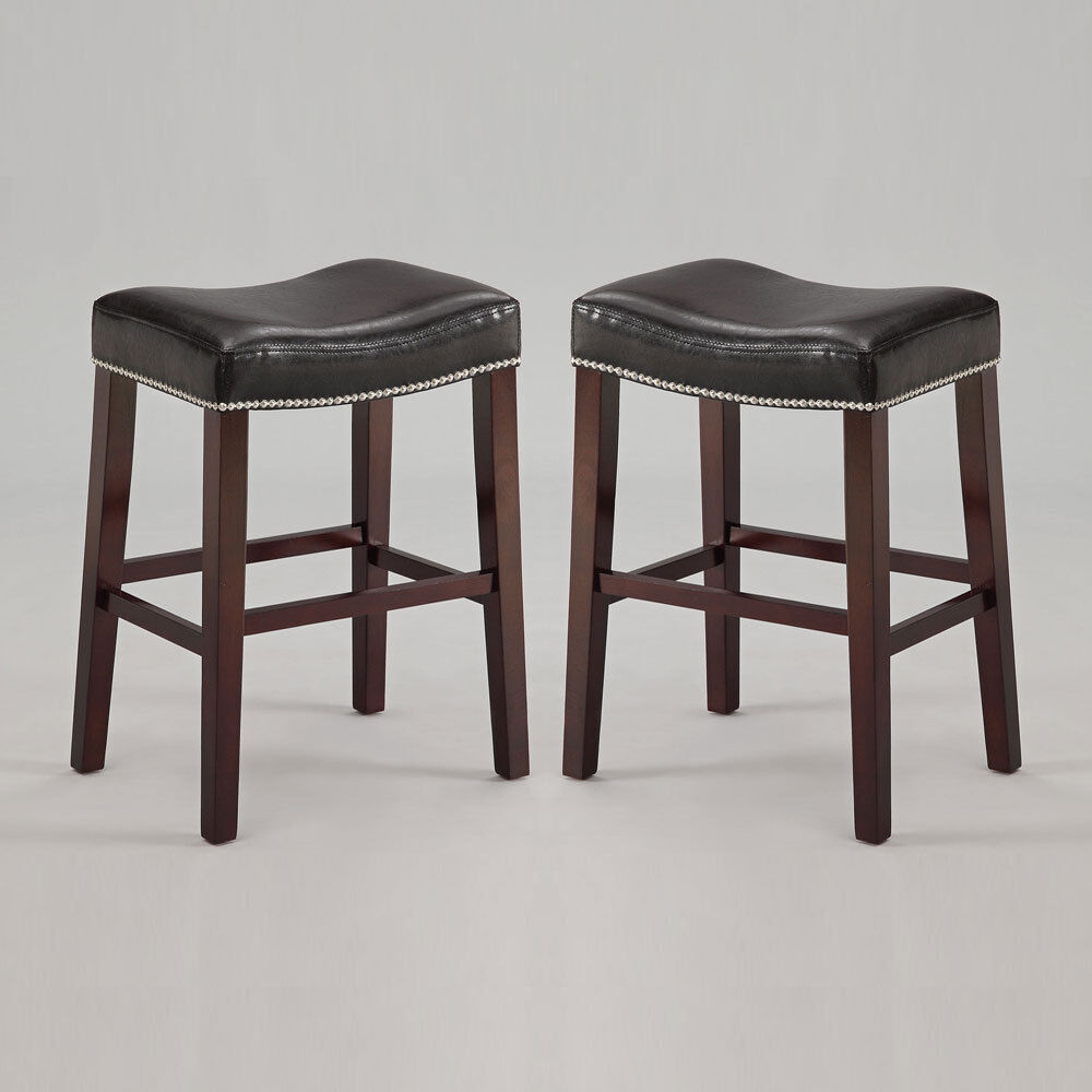 "Set of 2 Lewis Saddle 26""H Counter Stool Chair Nailhead Trim"