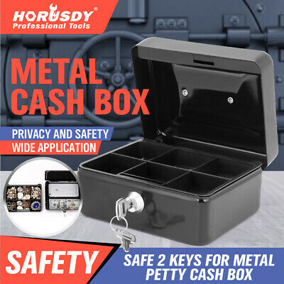 6 Locking Cash Box Money Small Steel Lock Security Safe Storage Check Black