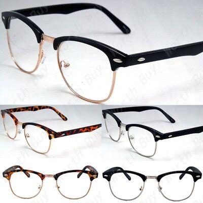 New Clear Lens Glasses Mens Women Nerd Horn Frame Fashion Ey