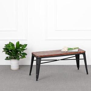 Rectangle Vintage Industrial Metal Pine Wooden Bench Kitchen Dining Chair T9D9
