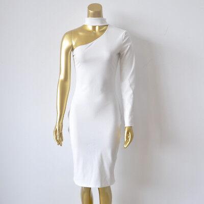 High-slit Skirt (White DAZZLING OFF-THE-SHOULDER HIGH SLIT SLINKY Midi DRESS Sexy Skirt Bodycon)