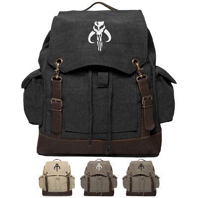 Star Wars Mandalorian Skull Boba Fett Canvas Rucksack Backpack w/ Leather Straps
