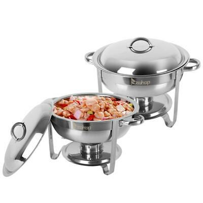 2 Pack Stainless Steel Chafer Round Chafing Dish Sets 5l 5qt Restaurant Us