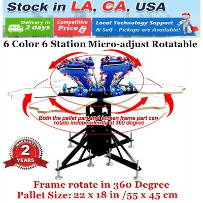 Us 6 Color 6 Station Manual Screen Printing Machine Press Micro-adjust Rotatable