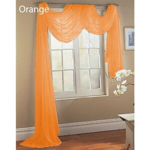 bright orange scarf sheer voile window treatment curtain. Black Bedroom Furniture Sets. Home Design Ideas