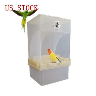 Pet Birds Parrot Cage Feeder Automatic Seed Feeder Box 440g Capacity US