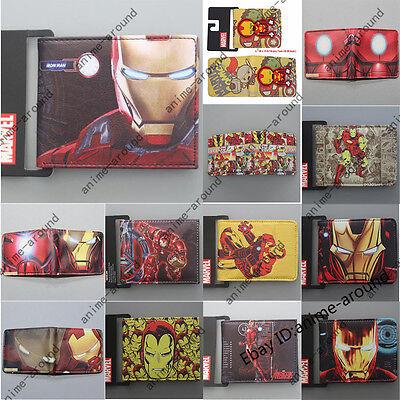 Marvel Superhero Iron Man Set Wallet Short Purse Bifold Money Bag Card Holders